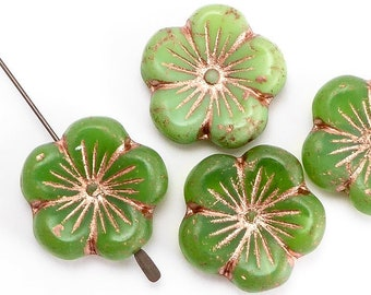 Green Flower Czech Glass Beads, (4 pcs) 22mm Flower Beads, FLW0505