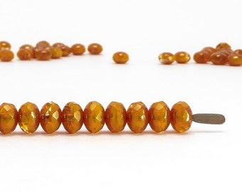 Orange Rondelle Czech Glass Beads, (60 pcs) 3x5mm Rondelle Beads, Orange Gemstone Donut, GMD0254