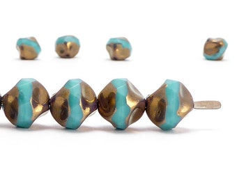 Turquoise Central Cut Czech Glass Beads, (10 pcs) 9mm Central Cut Beads, Turquoise Beads, CTC0012