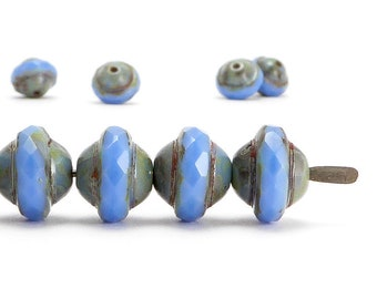 Blue Saturn Czech Glass Beads, (10 pcs) 8x10mm Saturn Beads, Blue Beads, SAT0022