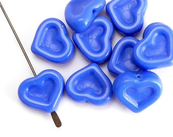Blue Heart Czech Glass Beads, (10 pcs) 14x12mm Heart Beads, HRT0090