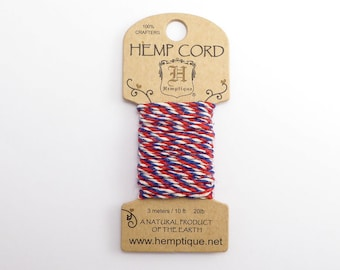 Americana Hemp Cord 1mm Mini, 3m Hemptique Cord, Red Hemptique Cord, Blue Macrame Cord, White Bracelet Cord HMC0113