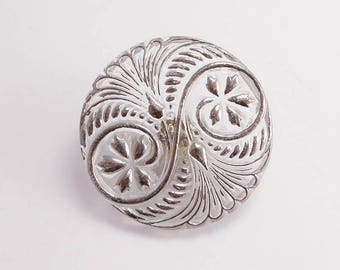 Silver Czech Glass Button, 31mm Czech Button, BUT0070