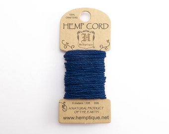 Navy Hemp Cord 1mm Mini, 6m Hemptique Cord, Blue Hemptique Cord, Blue Macrame Cord, Blue Bracelet Cord, Navy Hemp HMC0088