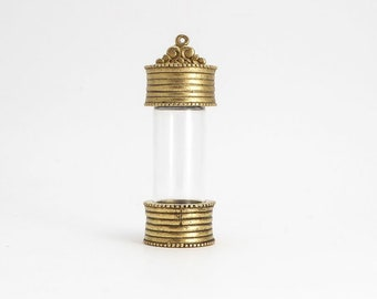 Antique Gold Keepsake Jar Pendant, (1 pc) Keepsake Jar, Antique Gold Bottle, Antique Gold Charm, Bottle Charm, Jar Charm CHM0231