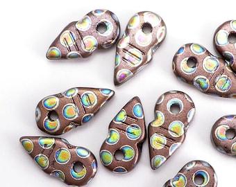 Brown Arrow Czech Glass Beads, (8 pcs) 19x9mm Arrow Beads, Pointer Beads, ARR0002