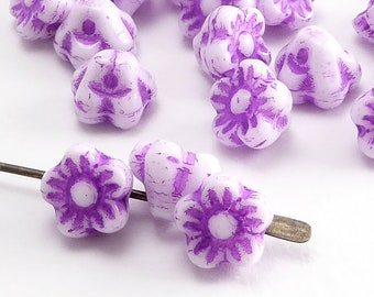 White Flower Czech Glass Beads, (30 pcs) 7mm Flower Beads, Button Flower Beads, FLW0508