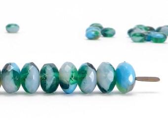 Blue Rondelle Czech Glass Beads, (40 pcs) 4x7mm Rondelle Beads, Blue Gemstone Donut, GMD0283