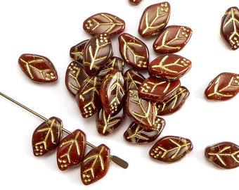 Leaf Czech Glass Beads, (40 pcs) 12x7mm Leaf Beads, LEA0117