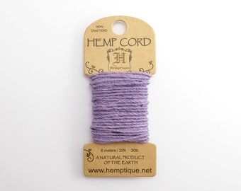 Lavender Hemp Cord 1mm Mini, 6m Hemptique Cord, Lavender Hemptique Cord, Lavender Macrame Cord, Lavender Bracelet Cord HMC0082