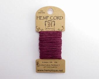 Burgundy Hemp Cord 1mm Mini, 6m Hemptique Cord, Burgundy Hemptique Cord, Burgundy Macrame Cord, Burgundy Bracelet Cord HMC0103