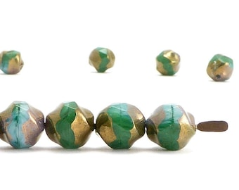 Green Central Cut Czech Glass Beads, (10 pcs) 9mm Central Cut Beads, Nugget Beads, CTC0014