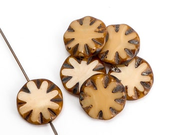Toffee Coin Czech Glass Beads, (6 pcs) 14mm Coin Beads, CON0140