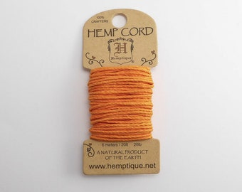 Gold Hemp Cord 1mm Mini, 6m Hemptique Cord, Gold Hemptique Cord, Gold Macrame Cord, Orange Bracelet Cord HMC0079