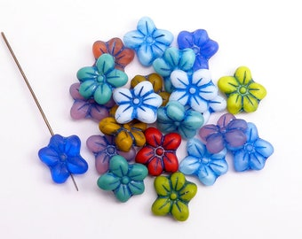 Bright Puffy Flower Czech Glass Beads, (6 pcs) 14x13mm Flower Beads, Bright Flower Beads, Glass Daisy Beads, Forget Me Not FLW0360