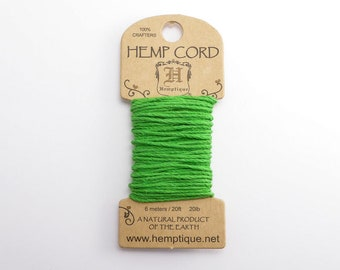 Neon Green Hemp Cord 1mm Mini, 6m Hemptique Cord, Green Hemptique Cord, Green Macrame Cord, Green Bracelet Cord HMC0097