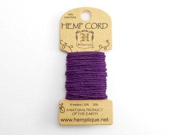 Dark Purple Hemp Cord 1mm Mini, 6m Hemptique Cord, Purple Hemptique Cord, Purple Macrame Cord, Purple Bracelet Cord HMC0090