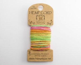 Neon Hemp Cord 1mm Mini, 6m Hemptique Cord, Neon Hemptique Cord, Neon Macrame Cord, Neon Bracelet Cord HMC0108