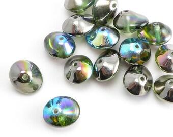 AB UFO Czech Glass Beads, (15 pcs) 7x11mm UFO Beads, Saucer Beads, UFB0004