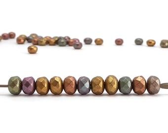 Metallic Rondelle Czech Glass Beads, (60 pcs) 3x5mm Rondelle Beads, GMD0221