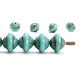 Turquoise Saturn Czech Glass Beads, (10 pcs) 8x10mm Saturn Beads, Saucer Beads, SAT0023