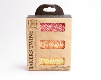 Hemptique Sunset Bakers Island Twine Spool Set, Bakers Twine Set, Cotton Twine, Cotton Bakers Twine, Red Bakers Twine, Orange Twine BTS0028