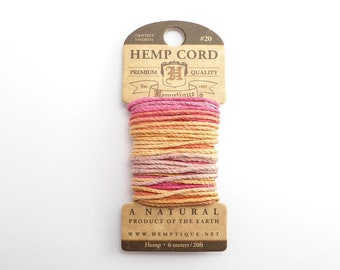 Taffy Hemp Cord 1mm Mini, 6m Hemptique Cord, Taffy Hemptique Cord, Orange Macrame Cord, Pink Bracelet Cord, Variegated Hemp Cord HMC0106