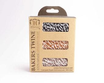 Hemptique Coconut Bakers Twine Spool Set, Bakers Twine Set, Cotton Twine, Cotton Bakers Twine, Brown Bakers Twine, Black Twine BTS0029