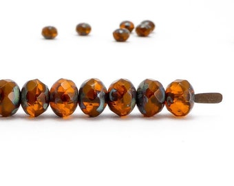 Orange Rondelle Czech Glass Beads, (20 pcs) 5x7mm Rondelle Beads, GMD0259