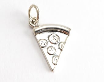 Sterling Silver Pizza Charm, (1 pc) 1x19x10mm Pizza Charm, Food Charm, CHM0232