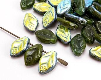 Green Leaf Czech Glass Beads, (20 pcs) 12x7mm Leaf Beads, LEA0118