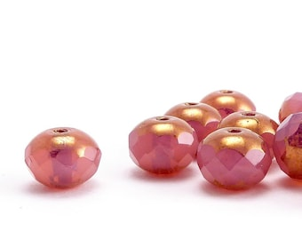 Pink Rondelle Czech Glass Beads, (12 pcs) 5x7mm Rondelle Beads, GMD0256