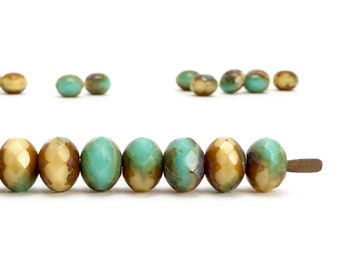 5x7mm Cream Turquoise Rondelle Czech Glass Beads, (20 pcs)