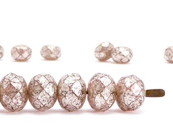 6x8mm Pink Silver Rondelle Czech Glass Beads, (15 pcs)