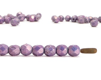 4mm Purple Round Faceted Czech Glass Beads, (60 pcs)