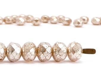 5x7mm Pink Silver Rondelle Czech Glass Beads, (30 pcs)