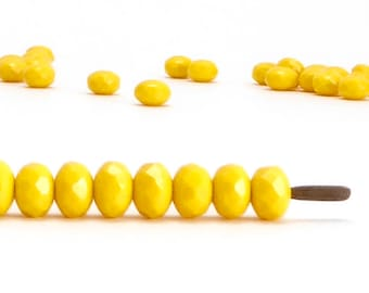 3x5mm Yellow Rondelle Czech Glass Beads (60 pcs)