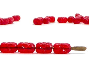 6x4mm Red Rice Czech Glass Beads, (60 pcs)