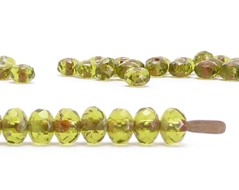3x5mm Green Picasso Rondelle Czech Glass Beads (60 pcs)