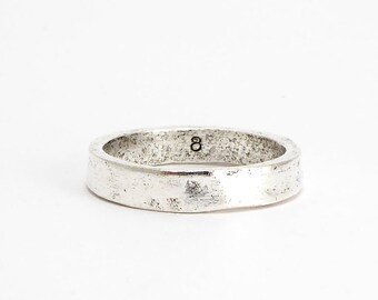 Antique Silver Hammered Ring Size 8, (1 pc) Hammered Ring, Nunn Silver Ring CHM0247