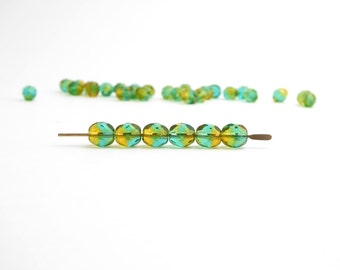 Yellow Green Round Faceted Czech Glass Beads, (60 pcs) 6mm Round Faceted Beads, Yellow Glass Beads, Green Round Beads, Yellow Glass RND0214