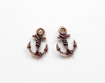 2 Nunn Design Antique Copper Anchor Charms 18.5x13.2x3.7mm, Anchor Charms, Copper Anchor Charms CHM0062