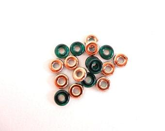 Emerald Capri Gold Glass Ring Czech Glass Beads, (10 pcs) 10mm Glass Ring Beads, Green Glass Ring Beads, Gold Glass Ring Bead GLR0004
