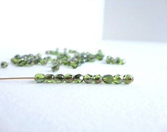 Green Faceted Round Czech Glass Beads, (30 pcs) 4mm Faceted Beads, Fire Polished Beads, Green Luster Beads, Green Round Beads RND0054