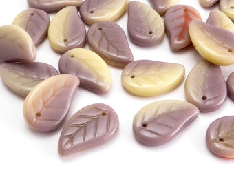 Purple Leaf Czech Glass Beads, (30 pcs) 14x9mm Leaf Beads, LEA0101