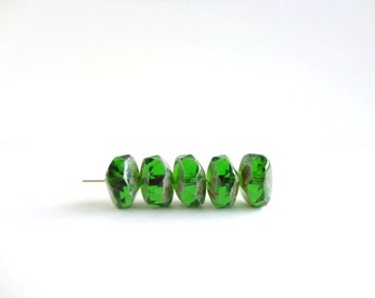 9x14mm Green Picasso Wavy Rondelle Czech Glass Beads, (6 pcs) Green Rondelle Beads, Picasso Czech Glass Beads WAV0004