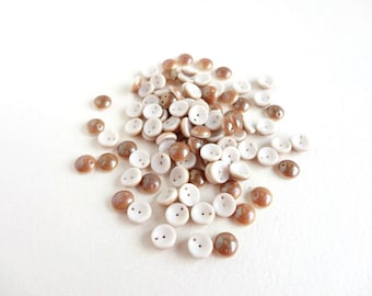 White Beige Luster Piggy Czech Glass Beads (30 pcs) 4x8mm Piggy Czech Glass Beads, White Piggy Beads, Luster Beads,  PIG0007