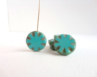 Turquoise Picasso Carved Coin Czech Glass Beads, (4 pcs) 18mm Coin Beads, Picasso Beads, Table Cut Beads, Turquoise Coin CON0008