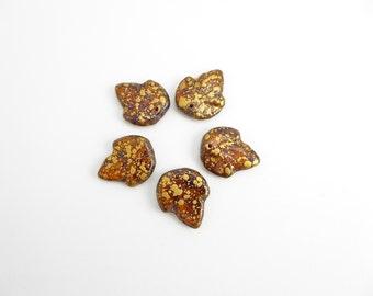 Amber Gold Leaf Czech Glass Beads, (6 pcs) 21x18mm Leaf Beads, Brown Leaf Beads, Gold Leaf Beads, Gold Rain, Large Leaf, Fall Beads LEA0064
