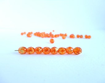 Orange Gold Round Faceted Czech Glass Beads, (25 pcs) 6mm Round Beads, Gold Round Glass Beads, Orange Rounds Beads, Gold Round Beads RND0177